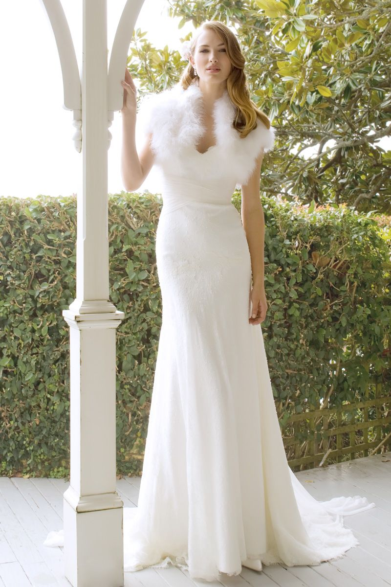 Knitted wedding dress  Olivia with Knitted Rabbit Fur Shrug  lace sweetheart fishtail
