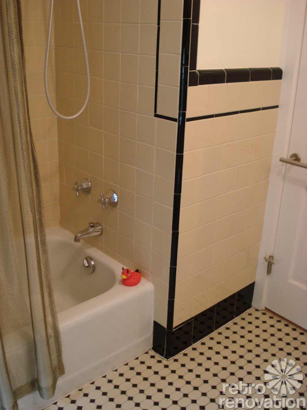 bird ernie s 1948 yellow and black tile bathroom remodel ideas rh pinterest com