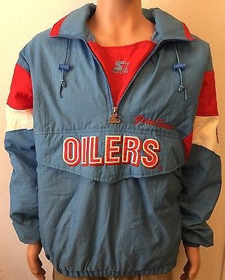 46c24c773 Vintage Houston Oilers Hooded Pullover Starter Jacket Insulated Mens XL Nice !