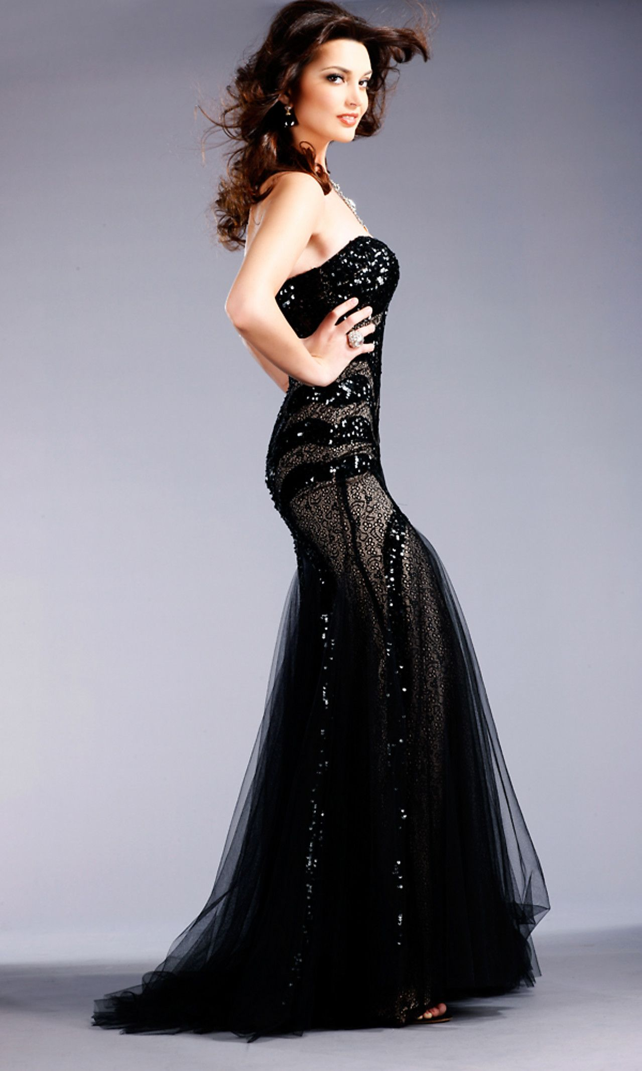 Needs arms u shoulders black lace and sequined gown by jovani jo