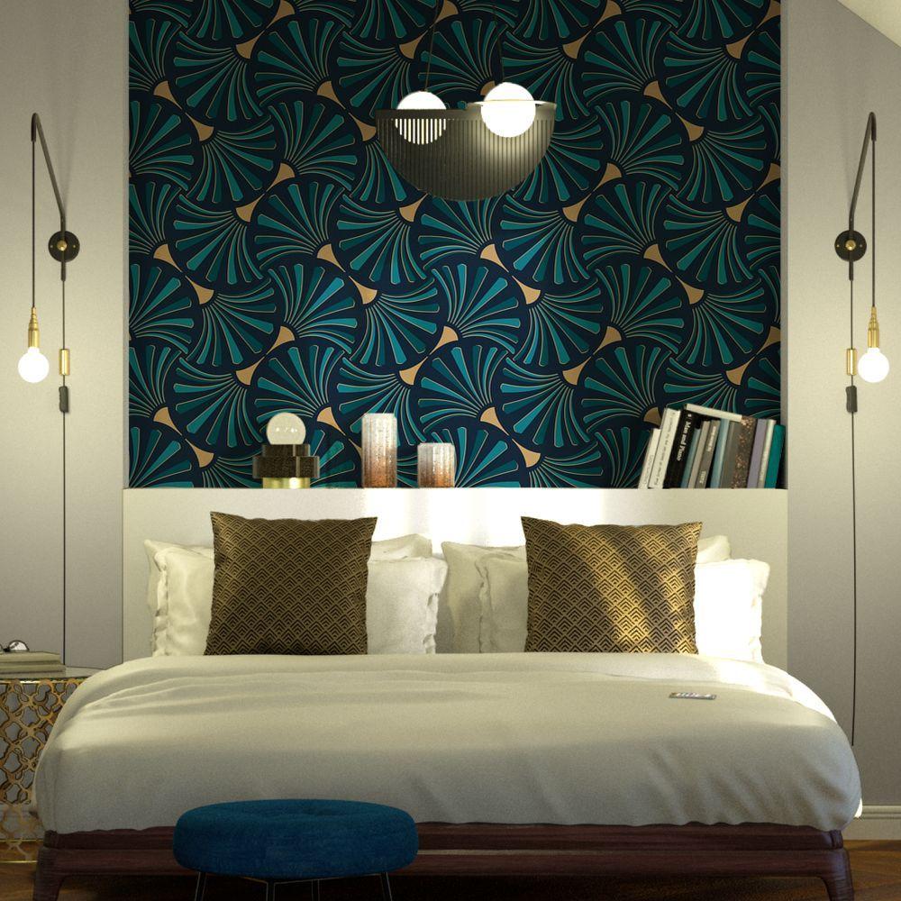 Papier peint intissé PANAME coloris bleu pétrole en 2020   Déco chambre parentale tête de lit ...