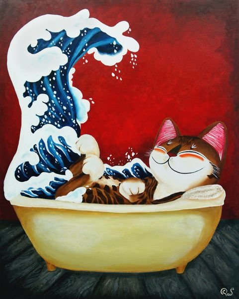 Cat Art   Catmasutra Acrylic Paintings And Collectibles By Singapore Artist  Paul Koh
