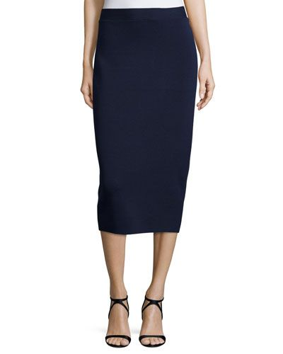 f4c237b8cd TC46C Eileen Fisher Silk Organic Cotton Interlock Pencil Skirt, Midnight