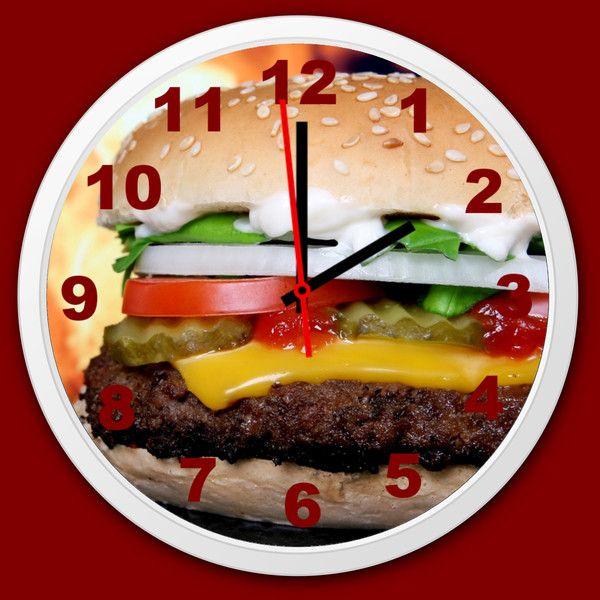 Küchenuhr Küche Wanduhr Burger Quarzuhr lautlos - wanduhr für küche