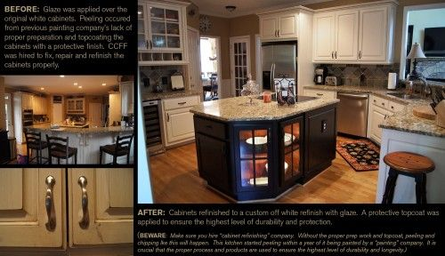 From peeling cabinets to a custom off white finish with ...