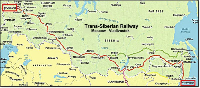 trans siberian railway map i would love to go end to end on this