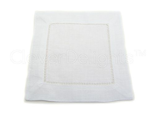 12 Cleverdelights White Pure Linen Hemstitch Cocktail Napkins 6 X 6 Ladder Hemstitch Beverage Napk Linen Cocktail Napkins Handmade Napkins Cocktail Napkins