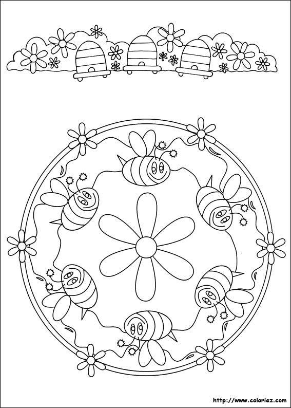 Mandala d 39 abeilles coloriage pinterest coloriage coloriage mandala et mandala - Coloriage d abeille ...