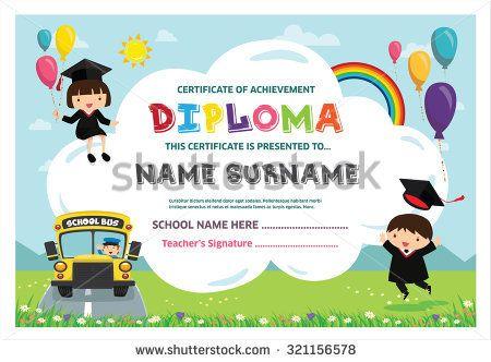 kids diploma certificate background design template atividades