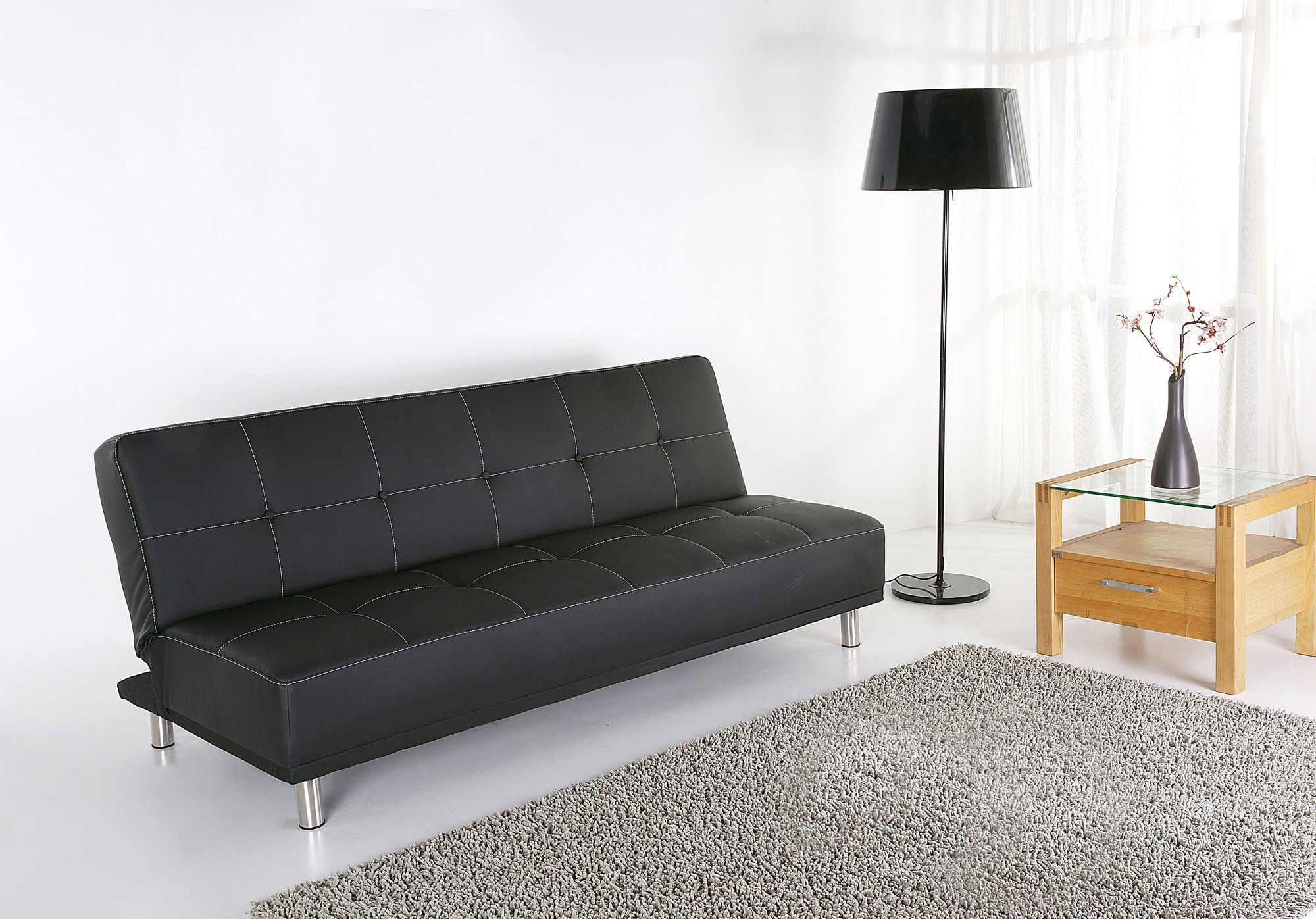 Upholstered In Faux Leather Foam And Fibre Filling Fixed Cushion Sofa Bed Dimensions 38cm H X 109cm W 180cm D Sprung 78cm
