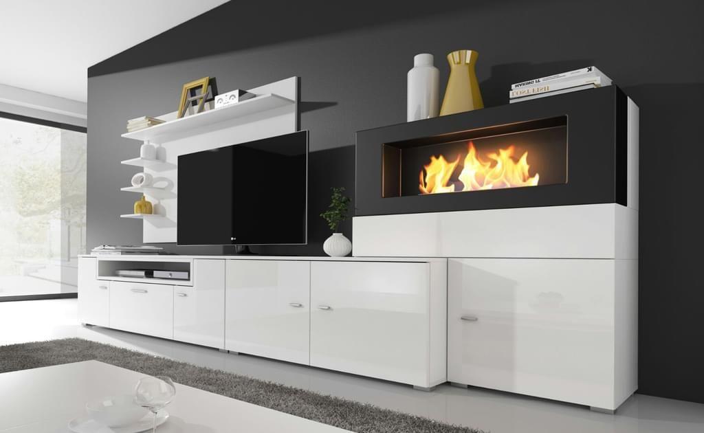 Moderne Wohnwand Mit Elektrischem Kamin Mit 5 Flammstufen Schrankwand Wohnzimmer Wohnen Wohnzimmerschranke Wohnwand
