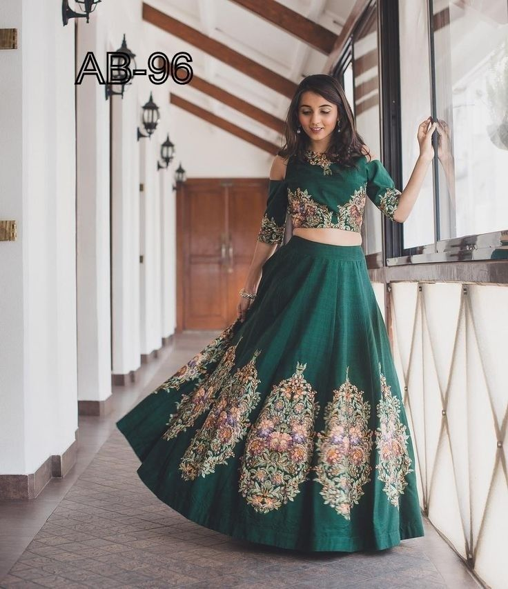 665ca2681539fb Dashing Green Lehenga With Cold Shoulder Top