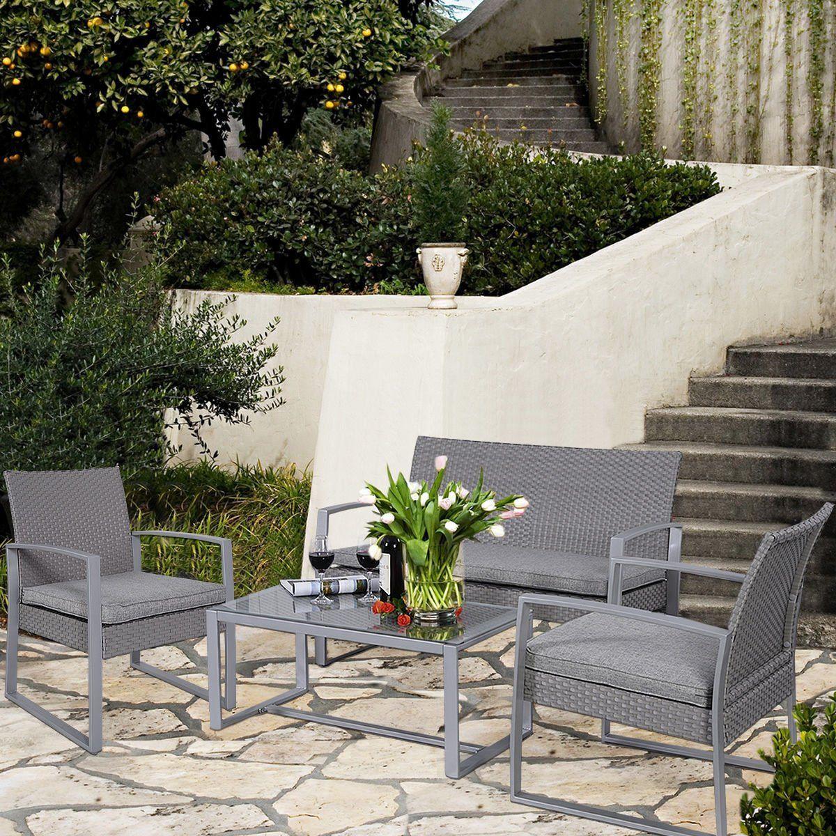 Amazon.com : Giantex 4pc Patio Furniture Set Cushioned Outdoor Wicker  Rattan Garden Lawn Sofa - Amazon.com : Giantex 4pc Patio Furniture Set Cushioned Outdoor