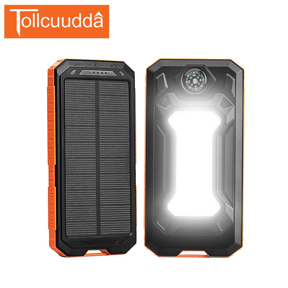 Tollcuudda Solar Power Bank 10000mah Compass External Battery Portable Charger Flashlight Poverbank For Iphone5 6 S Solar Power Bank Powerbank Portable Charger