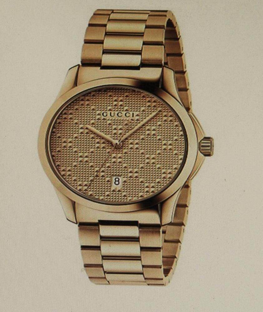 8d6049a4b29 Gucci YA126461 G-Timeless Gold-Tone Stainless Steel Bracelet Unisex Watch  New