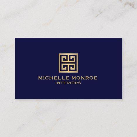 Classic Greek Key Designer Logo Gold Navy Blue Business Card Zazzle Com Visita