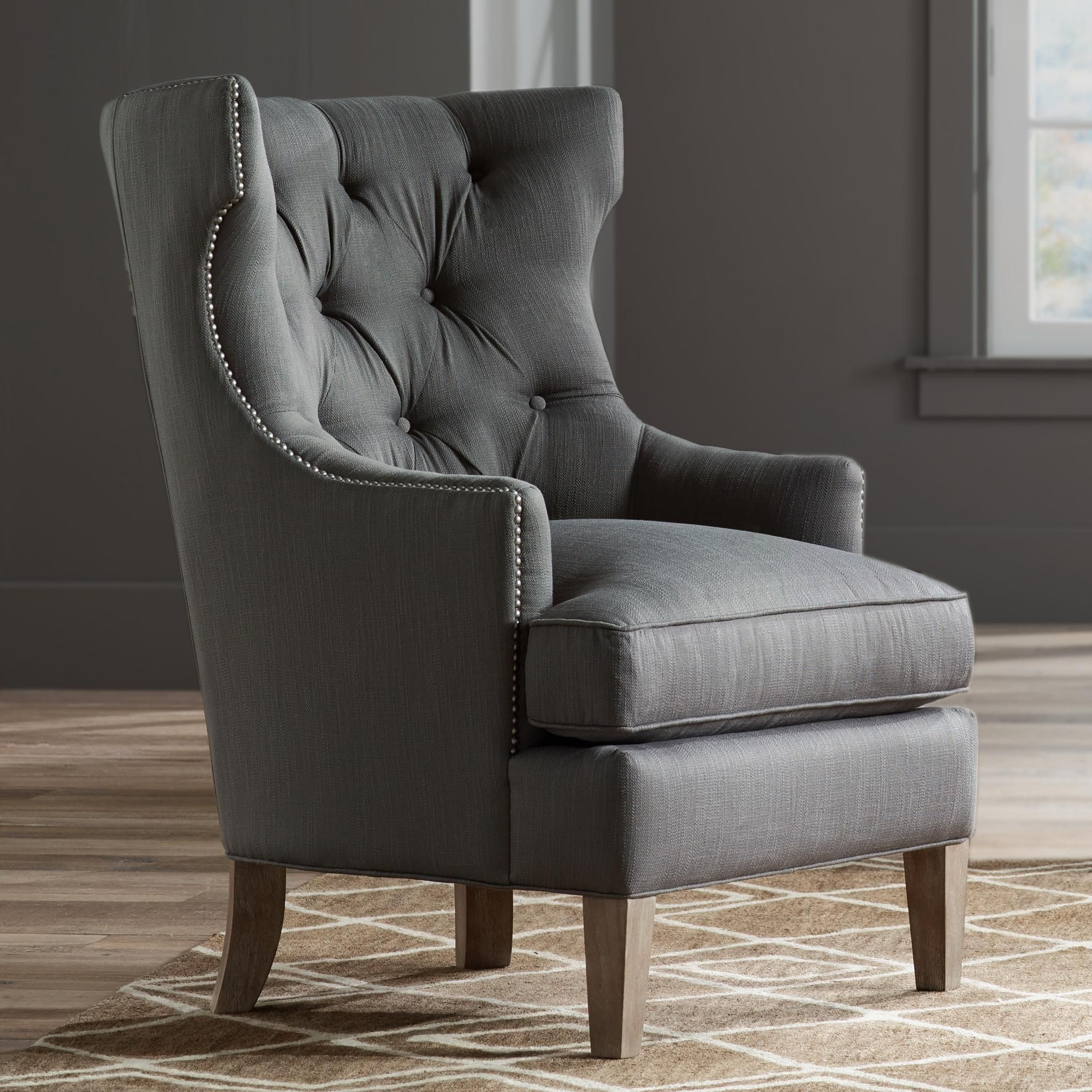 Reese Studio Charcoal High Back Accent Chair High Back Accent