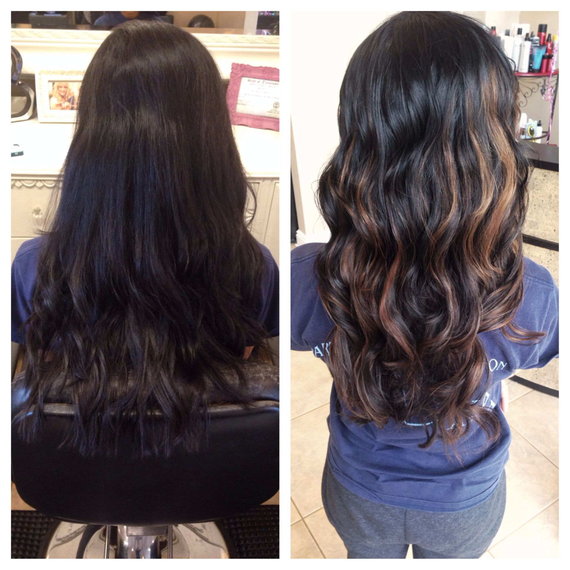 Before/after balayage highlights Indian hair perfect contrasting color with  black hair