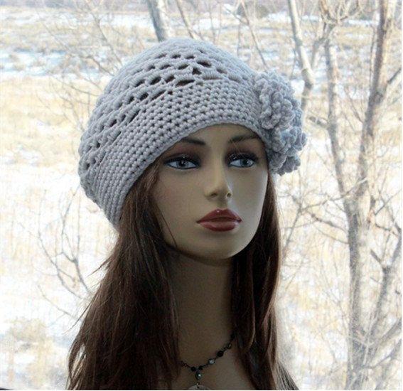 Womens Hat Crochet Beanie, Hat with Flower, Chemo Hat, All Season Hat, Boho Beanie, Pastel Gray, Unique Gift #hatflower