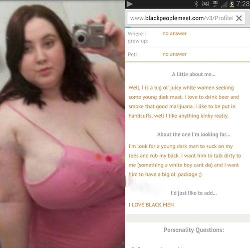 Dating Personals - Big White Woman Seeking Black Man - blackpeoplemeet.com
