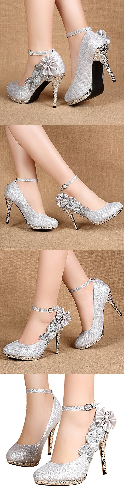 512b998154c0 Getmorebeauty Women s Glitter Silver Lace Flower Sequins Strappy Closed Toes  Dress Wedding Shoes 7 B(M) US