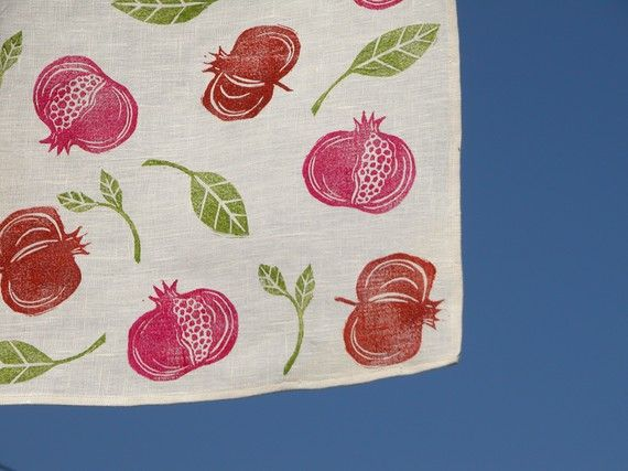 Pomegranate Linen table runner by giardino on Etsy, $52.00
