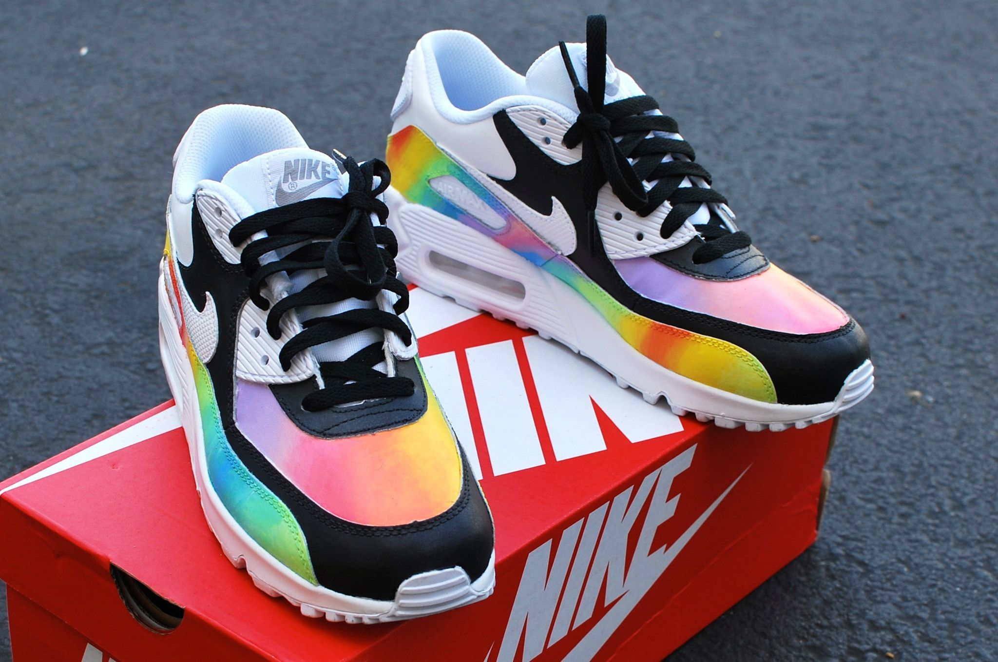 the latest 207c8 35350 Custom Hand-Painted Color Blast Nike Air Max 90 Running Shoe