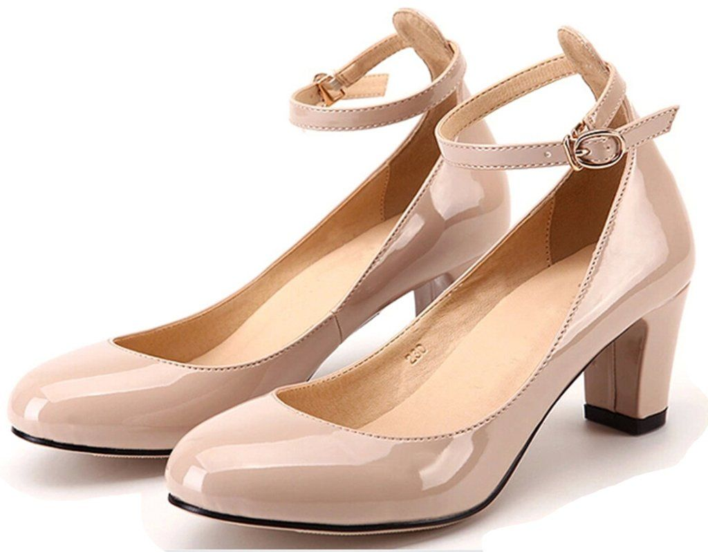 Littleboutique New Fashion Round Toe Pumps Ankle Strap Dress Low Heel  Chunky Heel Evening Pumps Shoes