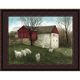 American Barn Framed Picture Country Rustic Artwork Bonnie