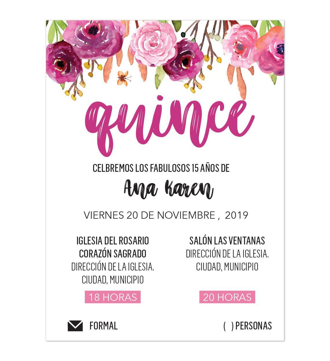 Invitación Xv Años Flores Invitaciones Xv Invitaciones Y