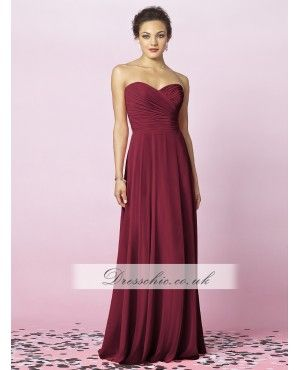 Burgundy Chiffon Long Bridesmaid Dress With Full Skirt
