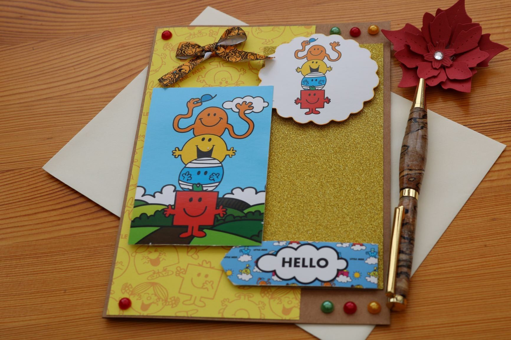Handmade Mr Men Card Etsy Gatefold Cards Cards Handmade Glitter Cards