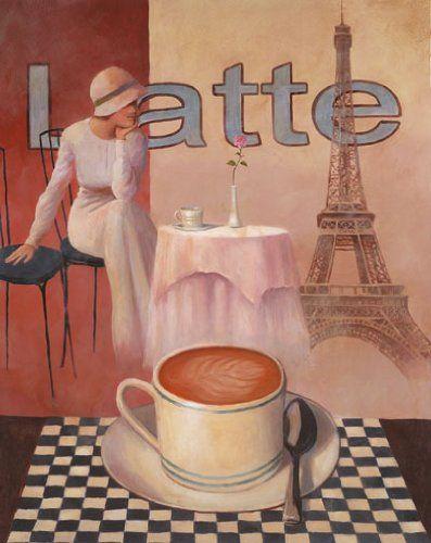 4 Coffee Posters Kitchen Cafe Decor Paris Art Print