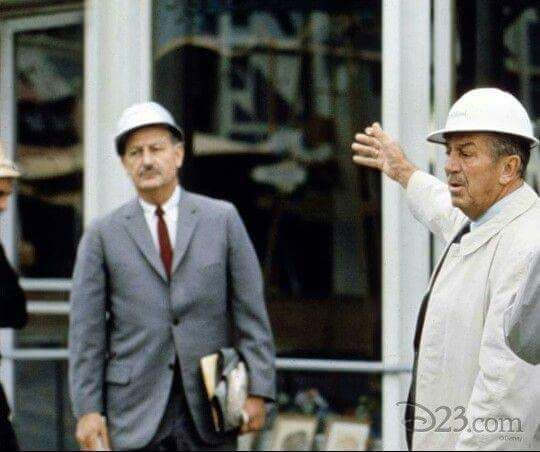 Walt with John Hench surveying Tomorrowland.