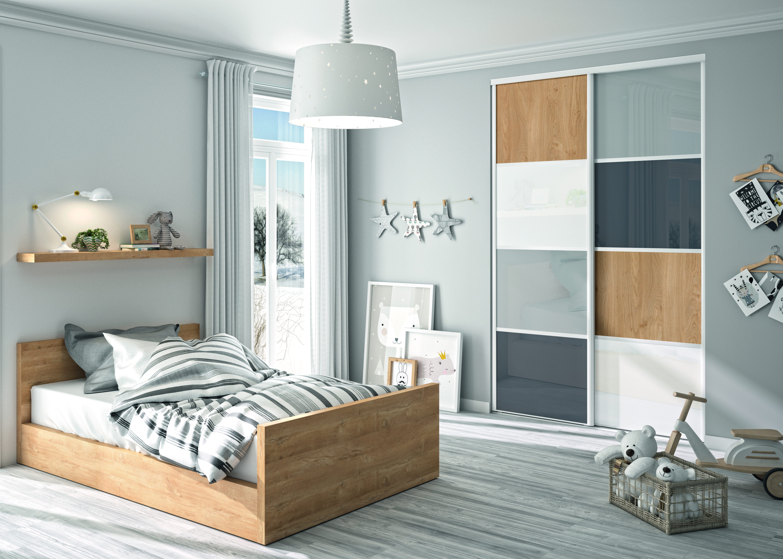 Creer Des Portes De Placard Coulissantes camille 4 façade de placard coulissante 2 portes décor gris