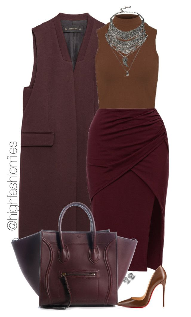 """""""Raspberry Chocolate"""" by highfashionfiles ❤ liked on Polyvore featuring Zara, Christian Louboutin and DYLANLEX"""