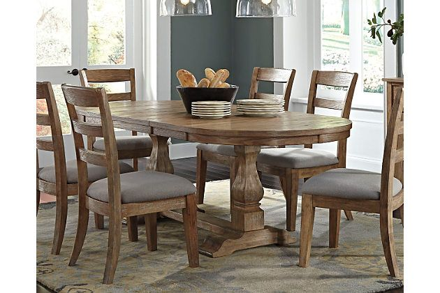 Light Brown Danimore Dining Room Table View 1  Crib Stuff Captivating Oval Dining Room Table Sets Inspiration Design