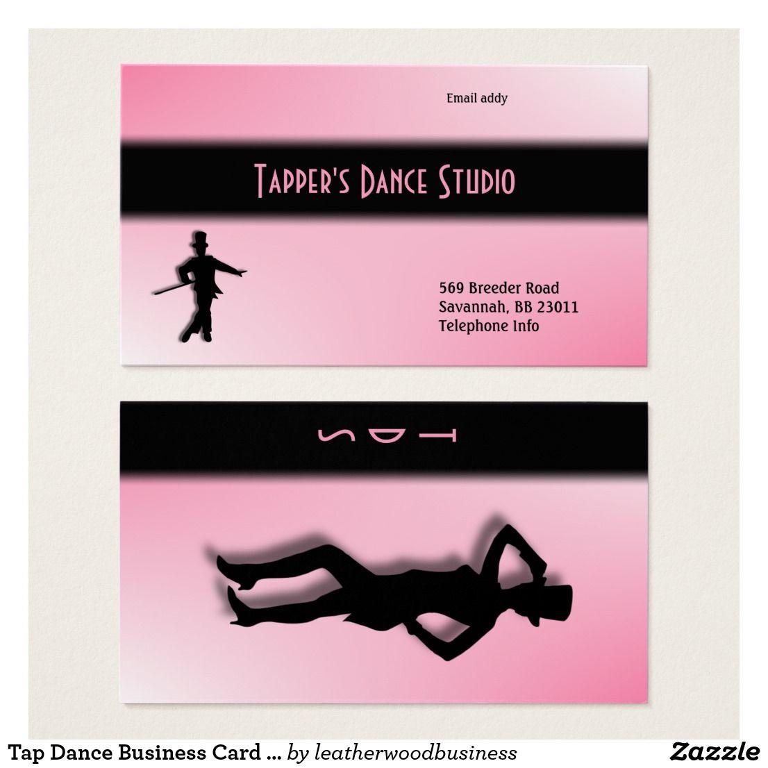 Tap Dance Business Card - Pink 50% off #dancestudio #danceinstructer ...