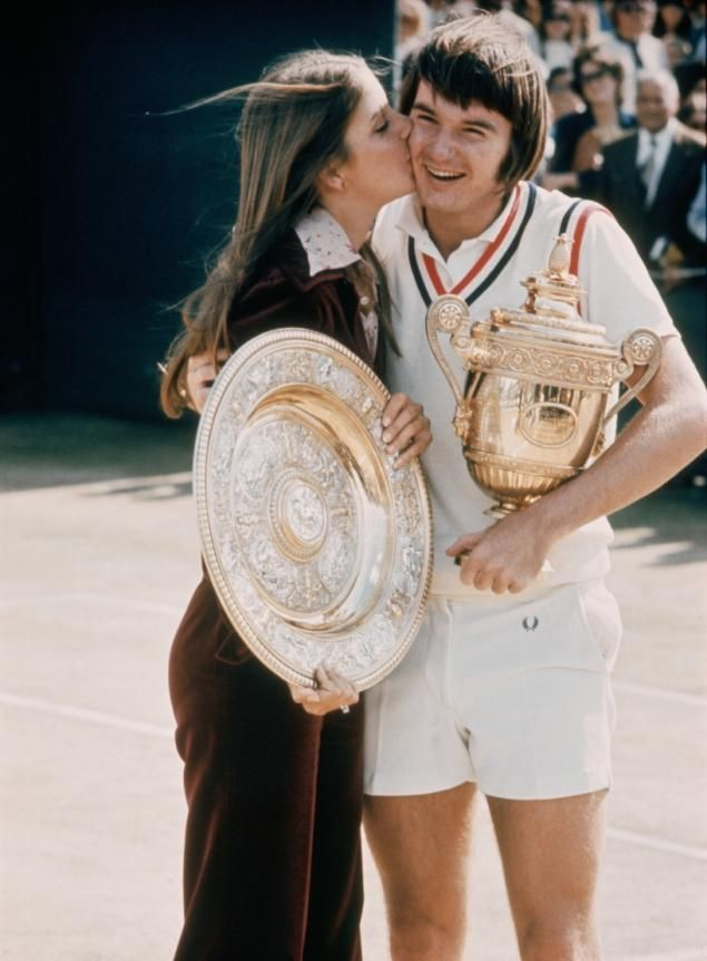 chrissie and then fiance jimmy connors enjoy their twin singles win at wimbledon in 1974