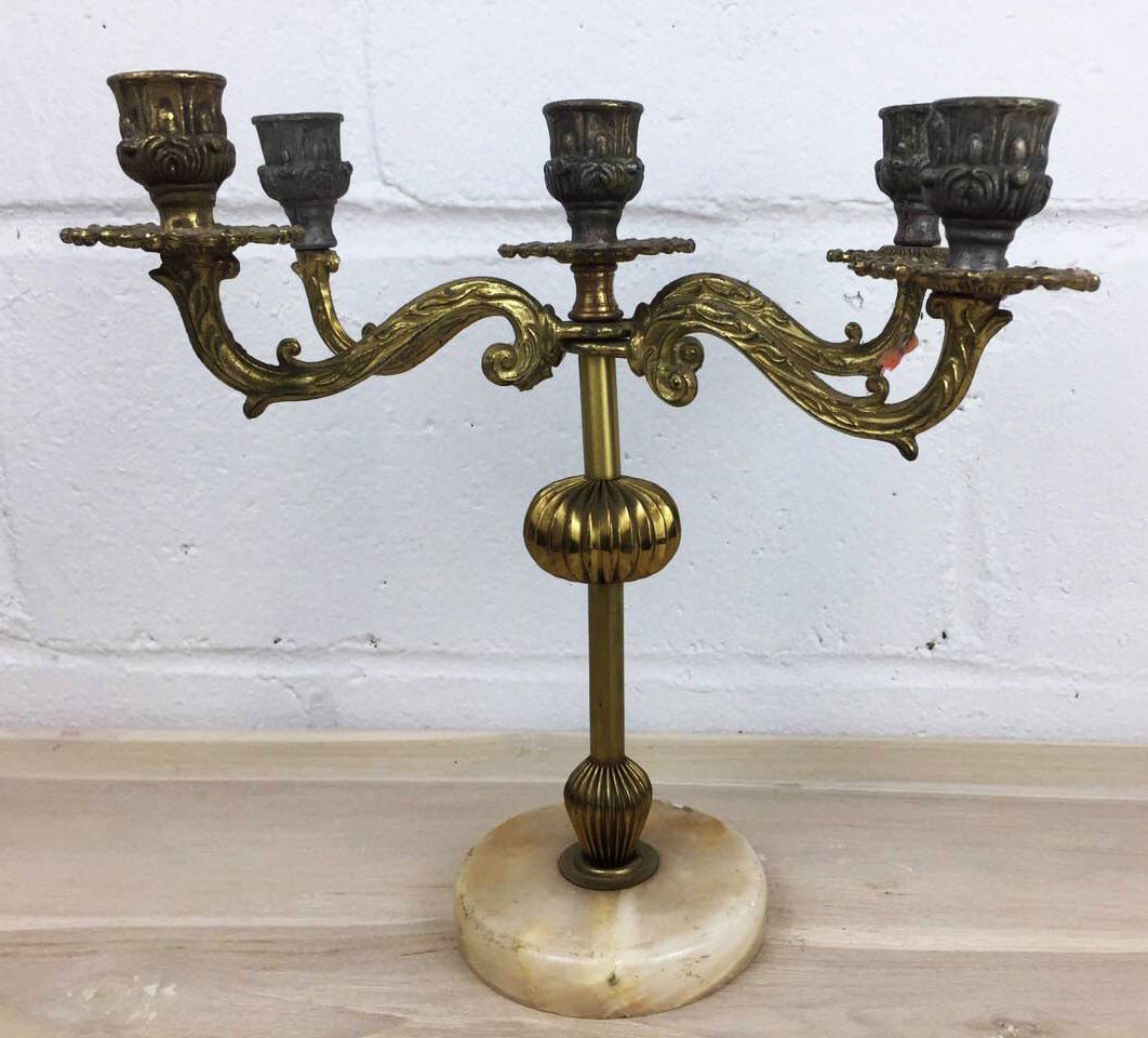 Antique french candelabra with marble base and candle holders