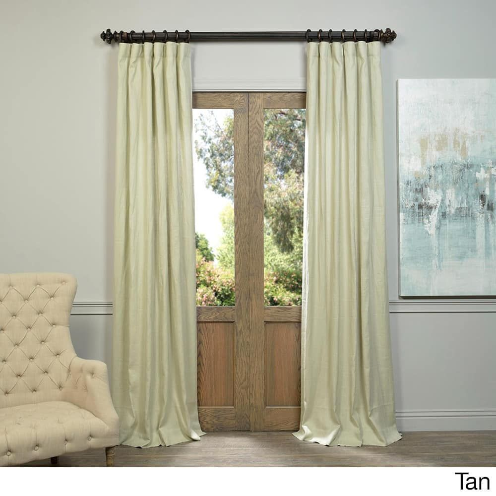 Exclusive Fabrics Linen 120 Inch Curtain Panel Tan 120l Brown Size 50 X