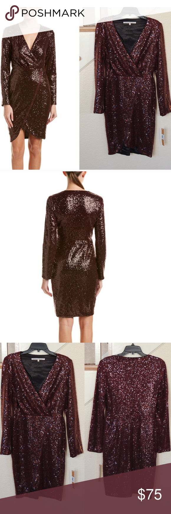 Dark red sequin long sleeve cocktail dress reasonable offers