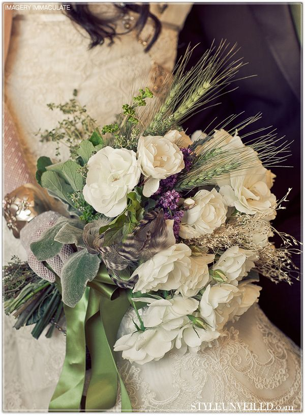 Bridal Bouquet for a Tuscan-style Wedding...Flowers for a Tuscan Wedding should be Lavender, garden roses, herbs, thyme, sage, vines...flowers you would find in an Italian countryside.