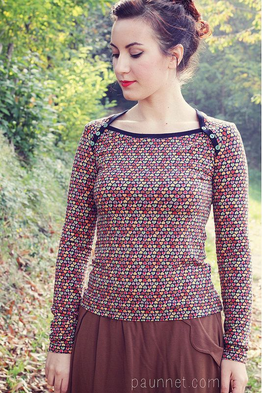 Pattern: Bronte top by Jennifer Lauren Vintage, via Perfect Pattern Parcel #6Size: 10Alterations: for the striped top, I shortened the long sleeves into elbow lengthFabric: both knits were from my stash, the striped one is the same I used for my Mariposa teeSo I've been asked again (see my first tim