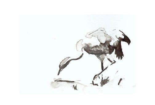 """""""Kraanvogel"""" oost indische inkt door Lida Meines"""