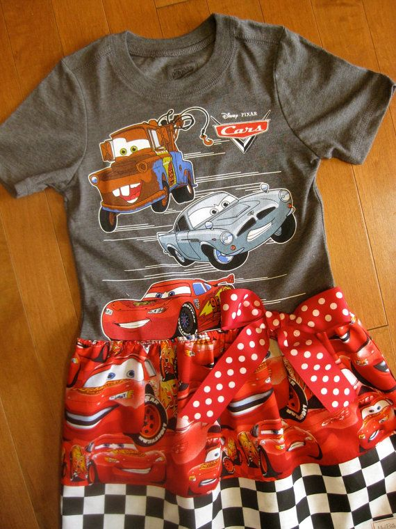 Cars Dress Upcycle Tee Lightening McQueen Tow by MadiBethCreations, $29.50
