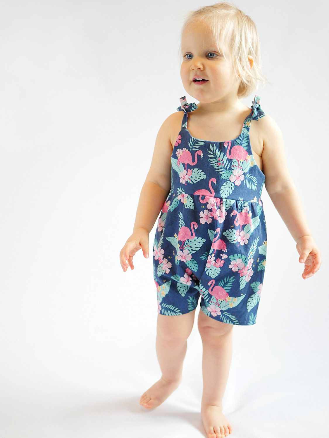 Easy to sew playsuit sewing pattern for baby and toddler girl, with ...