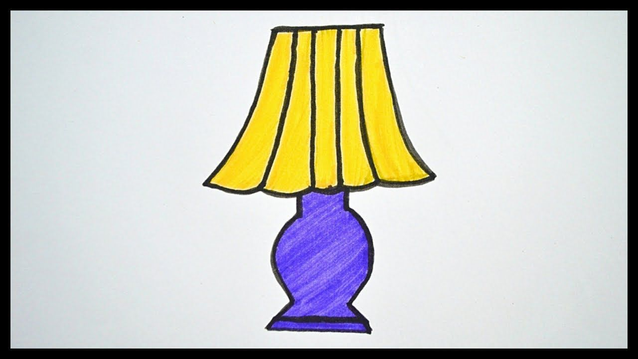 How To Draw A Lamp Drawing And Coloring For Kids With Images Coloring For Kids Drawing For Kids Easy Drawings For Kids