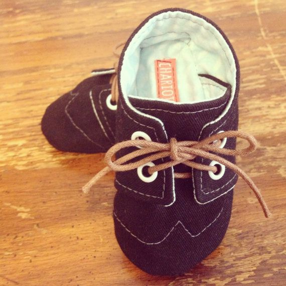 37d999bc3d20f Canvas Brogue Wingtip LaceUp Baby Crib Shoes // by ChariotsAfire ...