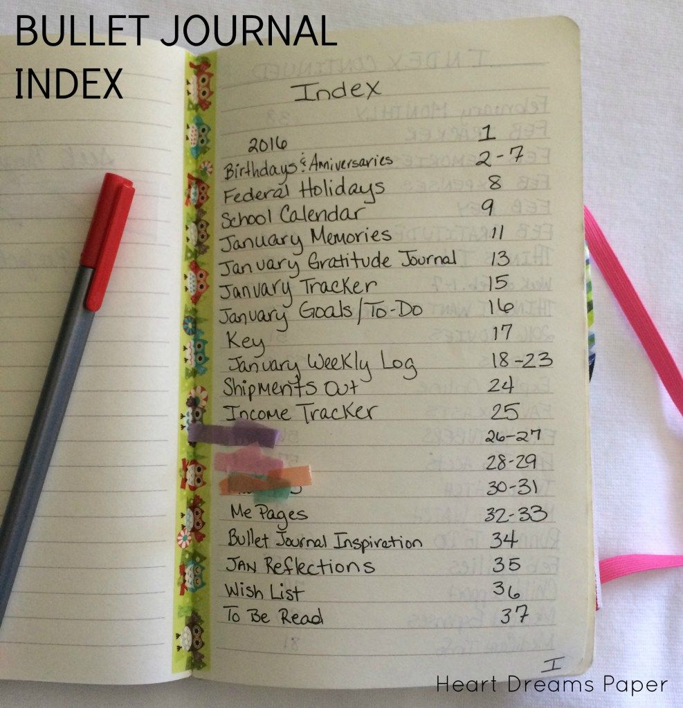 bullet journal index page example bullet journal layout. Black Bedroom Furniture Sets. Home Design Ideas